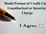 Model Format of Credit Card Unauthorized or Incorrect Charge